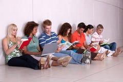 Grupo de estudiar feliz de los estudiantes Foto de archivo libre de regalías