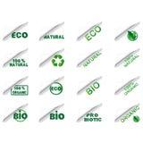 Grupo de etiqueta biológico e natural Imagem de Stock