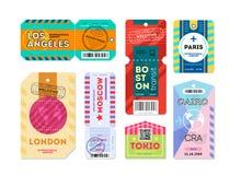 Grupo de etiqueta da etiqueta da bagagem registrada Imagem de Stock Royalty Free