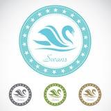 Grupo de etiqueta da cisne ilustração stock