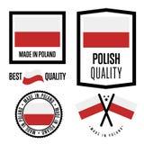 Grupo de etiqueta da qualidade do Polônia para bens ilustração royalty free