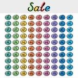 Grupo de etiqueta do disconto, venda sazonal Imagens de Stock