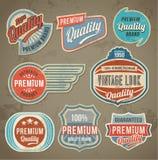 Grupo de etiqueta do vintage Fundos retros da bandeira do projeto do vetor Fotografia de Stock Royalty Free