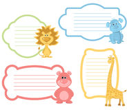 Grupo de etiqueta dos animais dos desenhos animados ilustração stock