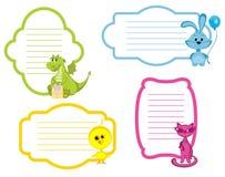 Grupo de etiqueta dos animais dos desenhos animados Fotos de Stock