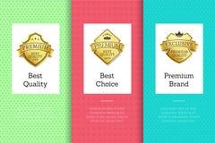 Grupo de etiqueta dourado bem escolhido do tipo superior da melhor qualidade ilustração stock