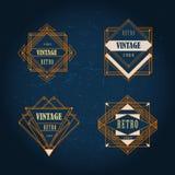 Grupo de etiqueta geométrica do vintage do art deco Imagens de Stock