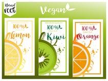 Grupo de etiqueta natural, bio, fresco, saudável do alimento no vetor Fotos de Stock