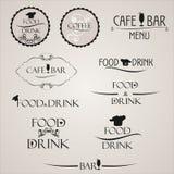 Grupo de etiqueta para o projeto do menu do restaurante Grupo de etiqueta para o café Etiqueta do alimento e da bebida Foto de Stock