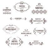 Grupo de etiqueta para o restaurante e o café Coleção de etiquetas do café e do restaurante do vintage Imagens de Stock Royalty Free