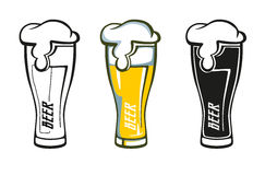 Grupo de etiqueta retro do vidro de cerveja Fotografia de Stock