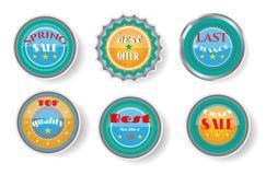 Grupo de etiquetas amarelas, azuis com texto Imagens de Stock Royalty Free