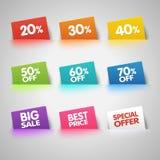 Grupo de etiquetas coloridas da venda no bolso Fotografia de Stock