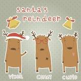 Grupo de etiquetas com rena de Santa. Vixen, cometa, C Imagem de Stock