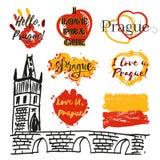 Grupo de etiquetas com rotulação sobre Praga Fotografia de Stock Royalty Free