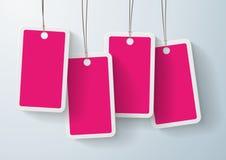 Grupo de etiquetas cor-de-rosa do preço Fotografia de Stock