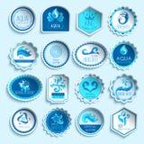 Grupo de etiquetas da água ilustração royalty free