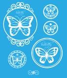 Grupo de etiquetas da borboleta do vintage, de emblemas e de elementos do projeto Vetor Fotos de Stock