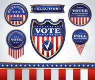 Grupo de etiquetas da eleição e da votação de crachás e Imagem de Stock