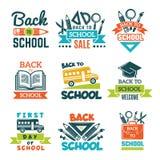 Grupo de etiquetas da escola De volta ao tema da escola ilustração stock