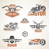 Grupo de etiquetas da motocicleta do vintage Fotografia de Stock Royalty Free