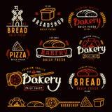 Grupo de etiquetas da padaria, de crachás, e de elementos do projeto Fotografia de Stock