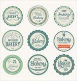 Grupo de etiquetas da padaria do vintage Fotos de Stock Royalty Free