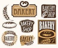 Grupo de etiquetas da padaria do vintage, de crachás e de elementos do projeto Fotos de Stock