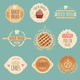 Grupo de etiquetas da padaria, pão, ilustração do vintage Foto de Stock Royalty Free