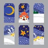 Grupo de etiquetas da paisagem da noite de Natal Fotos de Stock Royalty Free