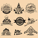 Grupo de etiquetas da pizza no estilo do vintage Ícones ilustração stock