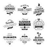 Grupo de etiquetas da praia no branco Fotografia de Stock Royalty Free