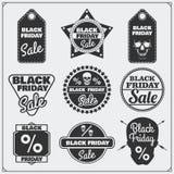 Grupo de etiquetas da venda de Black Friday, de bandeiras, de crachás, de etiquetas e de elementos do projeto Imagem de Stock