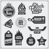 Grupo de etiquetas da venda de Black Friday, de bandeiras, de crachás, de etiquetas e de elementos do projeto Imagens de Stock