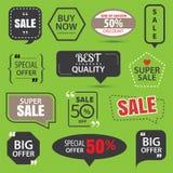 Grupo de etiquetas da venda, de crachás dos elementos e de etiquetas comerciais ilustração do vetor