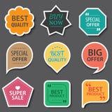 Grupo de etiquetas da venda, de crachás dos elementos e de etiquetas comerciais ilustração stock