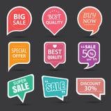 Grupo de etiquetas da venda, de crachás dos elementos e de etiquetas comerciais ilustração royalty free