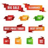 Grupo de etiquetas da venda do papel do vetor, bandeiras, ícones Origami abstrato Fotos de Stock Royalty Free
