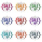 Grupo de etiquetas da venda em um fundo branco Venda, tema do disconto Fotos de Stock