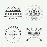 Grupo de etiquetas, de logotipos e de crachás da caça do vintage Imagem de Stock