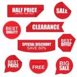 Grupo de etiquetas de papel vermelhas da VENDA Fotos de Stock Royalty Free