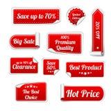 Grupo de etiquetas de papel vermelhas da VENDA Círculo, quadrado e Fotografia de Stock Royalty Free