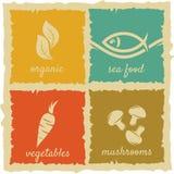 Grupo de etiquetas do alimento do vintage ilustração stock