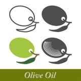 Grupo de etiquetas do azeite e de elementos do projeto ilustração royalty free