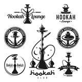 Grupo de etiquetas do cachimbo de água, de crachás e de elementos do projeto ilustração royalty free