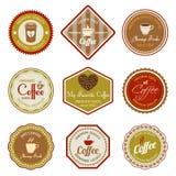 Grupo de etiquetas do café Fotografia de Stock