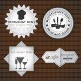 Grupo de etiquetas do café e do restaurante Fotografia de Stock Royalty Free