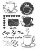 Grupo de etiquetas do chá do vintage, de crachás e de elementos do projeto Vetor Fotos de Stock