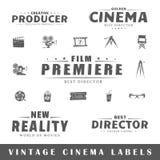 Grupo de etiquetas do cinema do vintage Fotografia de Stock Royalty Free