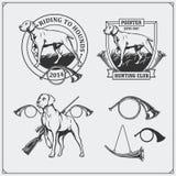 Grupo de etiquetas do clube de caça O cão do ponteiro simboliza, etiquetas e elementos do projeto Foto de Stock